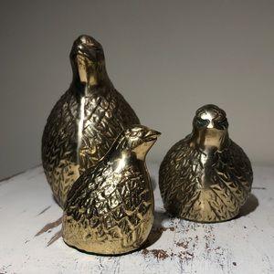 Set of 3 Vintage Brass Quail Chick Bird figurines